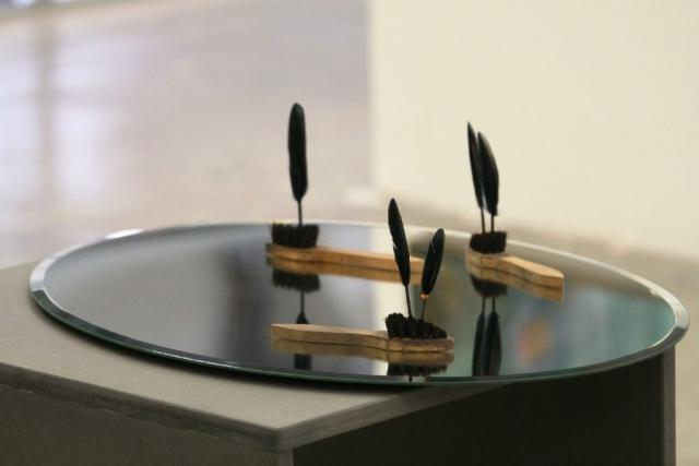 o.T. - 2014 - Installation - Spiegel, Bürsten, Federn